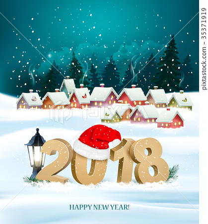 Happy New Year 2018 background with presents 35371919