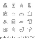 Hotel service, Simple thin line hotel icons set 35372257