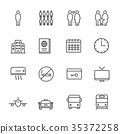 Hotel service, Simple thin line hotel icons set 35372258