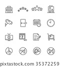 Hotel service, Simple thin line hotel icons set 35372259
