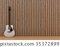 white guitar in wood plank room design in 3D  35372899