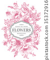 Wedding card with flowers. 35372916