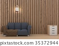 fabric sofa in empty wood plank room in 3D render 35372944