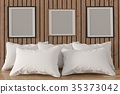 mock up photo frame with white pillows in room 35373042