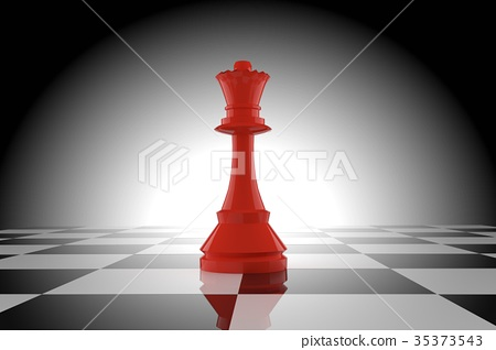 red chess queen on chessboard in 3D rendering 35373543