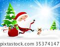 Happy santa claus cartoon snowman and reindeer wit 35374147