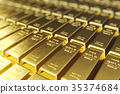 Stack close-up Gold Bars, weight of Gold Bars 1000 35374684