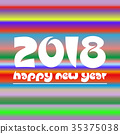 happy new year 2018 on colorful stripped eps10 35375038