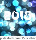 happy new year 2018 on blue bokeh circle eps10 35375042