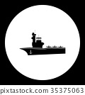 one aircraf carrier simple black icon eps10 35375063