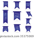 blue hanging ribbon banners set for merry xmas  35375069