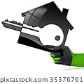 House Model with Key in a Gloved Hand 35376761
