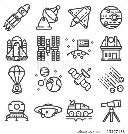 Vector space icons set. Line pack 35377188