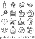 Vector line baby icons set. 35377230