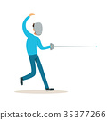 Male fencing athlete character practicing with 35377266