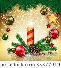 greeting with candle and Christmas decorations 35377919