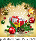 greeting with gifts and Christmas decorations 35377920