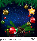 Celebration greeting Christmas tree and snowflakes 35377928
