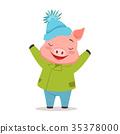 pig, happy, vector 35378000