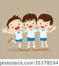 Three boys pupil hugging and smiling 35378594