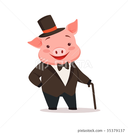Cute happy pig dressed up in black tuxedo and hat 35379137