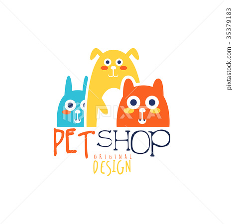 Pet shop logo template original design, colorful 35379183