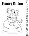 Cartoon Cat with Fish 35379974