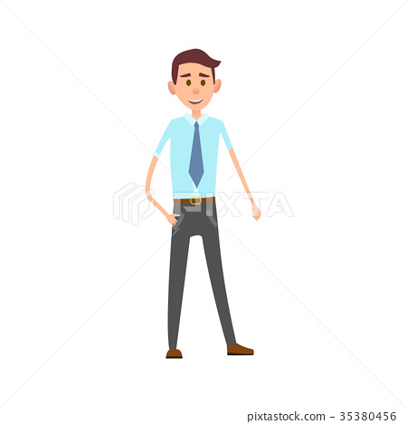 Man in Formal Office Clothes Isolated Illustration 35380456