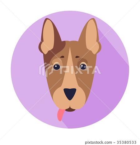 Cute Dog Muzzle Cartoon Flat Vector Icon 35380533