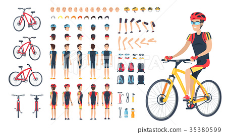 Man in Special Clothing on Bicycle Constructor 35380599
