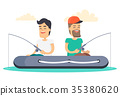 Men out on Fishing in Boat Isolated Illustration 35380620