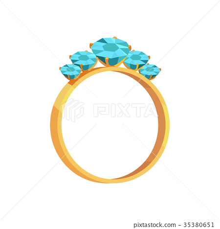 Gold Ring With Turquoise Gems Isolated Illustraion 35380651