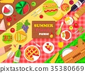 Summer Friends Picnic Poster with Delicious Food 35380669