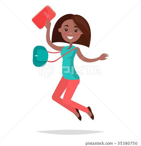 Jumping African Girl Student with Notebook and Bag 35380750