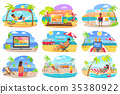 Distant Work and Freelance on Beach during Summer 35380922
