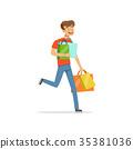 Crazy man with paper shopping bags, shopaholic man 35381036