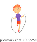 Sportive boy jumping with a rope, kids physical 35382259