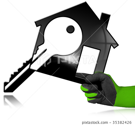 House Model with Key in a Gloved Hand 35382426