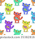 Cat with Fish, Tile Pattern 35382816
