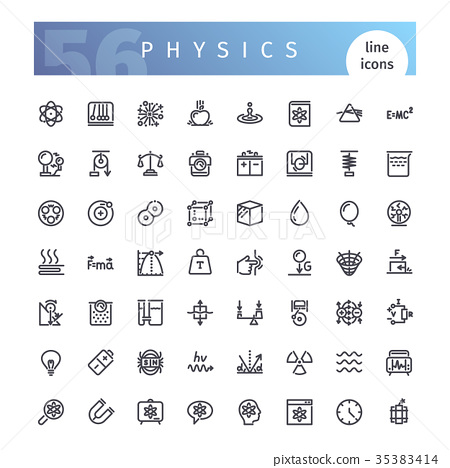 Physics Line Icons Set 35383414