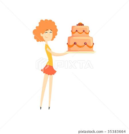 Smiling redhead girl holding big festive cake 35383664