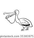 Isolated Pelican Cartoon-Vector Illustration 35383975