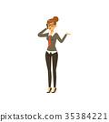 Businesswoman character in formal wear talking on 35384221
