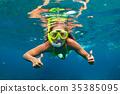 snorkel, kids, woman 35385095
