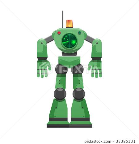 Robot with Alarm Signal and Big Radar Illustration 35385331