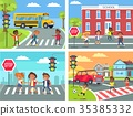 Schoolchildren Cross Road on Pedestrian Crossing 35385332