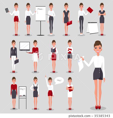 Modern Businesswoman at Work Illustrations Set 35385343