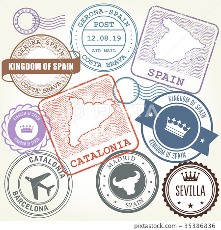 Travel stamps set Barcelona, Catalonia and Spain  35386836