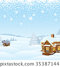 Snowy Day Winter Landscape. Vector Illustration 35387144