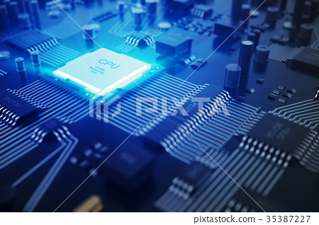 3D rendering Circuit board. Technology background 35387227